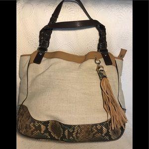 RAFE Beige Linen Snakeskin Leather Tote Bag
